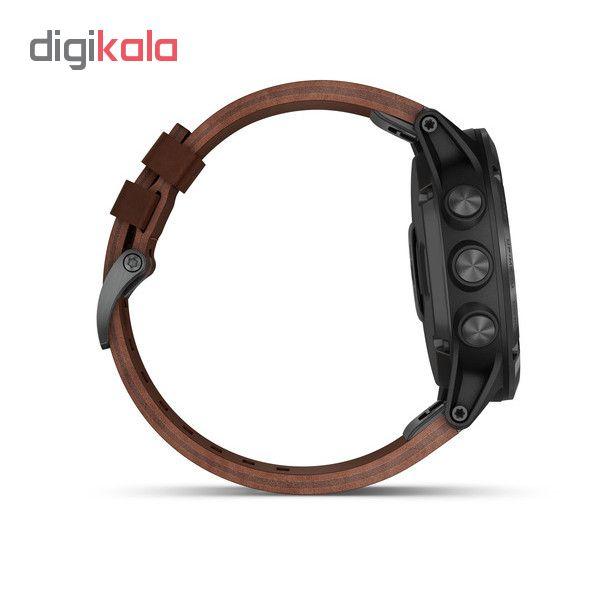 ساعت مچی هوشمند گارمین مدل Fenix 5x Plus Brown Leather Band به همراه بند سیلیی