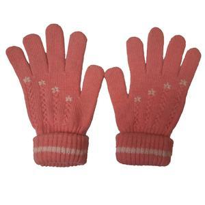 دستکش بافتنی دخترانه طرح چهار گل مدل AS1049
