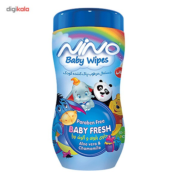 دستمال مرطوب پاک کننده کودک کمر باریک نینو مدل کارتونی - بسته 50 عددی