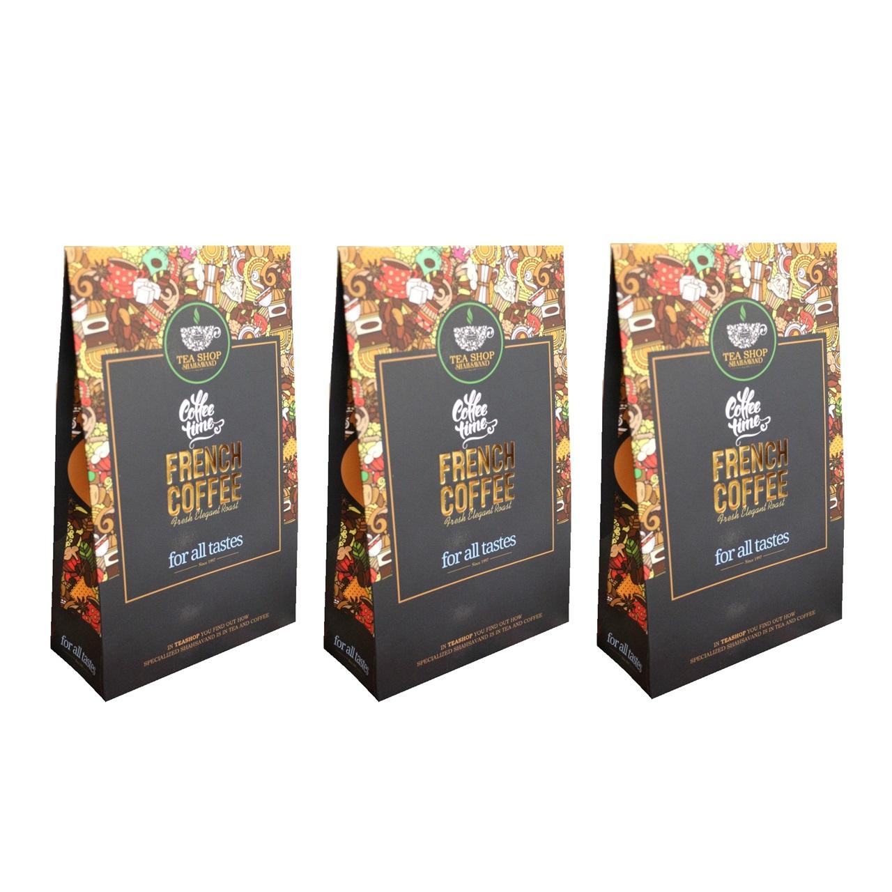 قهوه آسیاب شده شاهسوند مدل فرانسه مجموعه 3 عددی