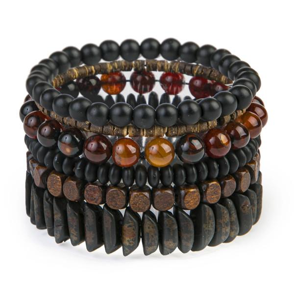 دستبند مردانه ریسه گالری مدل 1290-6مجموعه 6 عددی