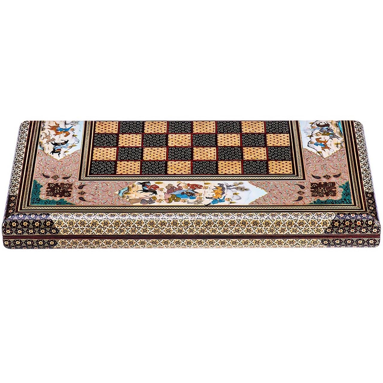 صفحه شطرنج خاتم اثر کروبی مدل لبه گرد طرح شکار طول 50 سانتی متر