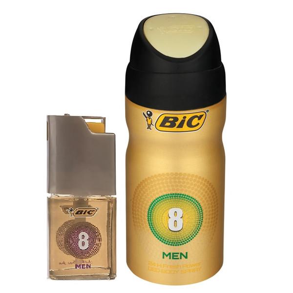 اسپری مردانه بیک مدل 8 حجم 150 میلی لیتر به همراه عطر جیبی مردانه بیک مدل 8 حجم 7 میلی لیتر