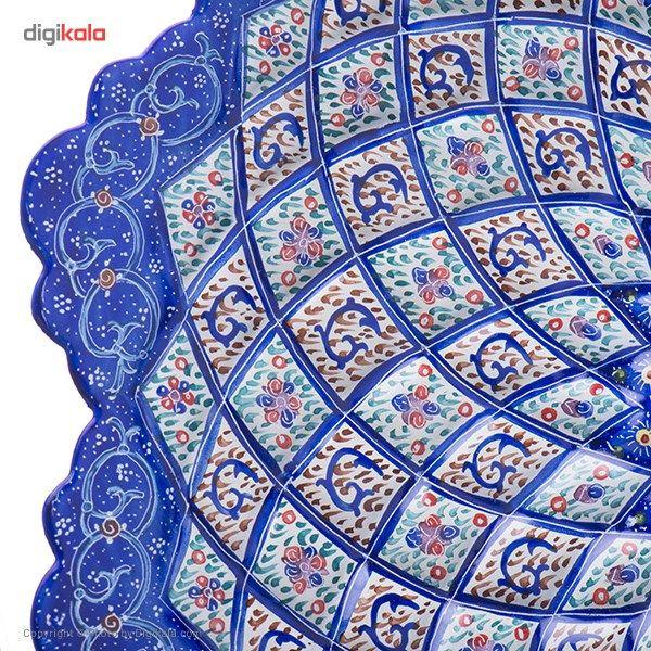 بشقاب مسی میناکاری شده اثر اسماعیلی طرح خانه بندی قطر 25 سانتی متر