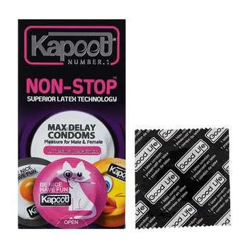 کاندوم خاردار کاپوت مدل Non Stop بسته 12 عددی به همراه یک عدد کاندوم Good Life