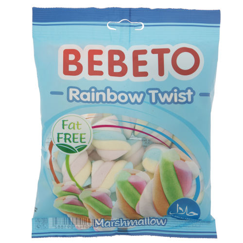 مارشمالو ببتو مدل Rainbow Twist مقدار 60 گرم