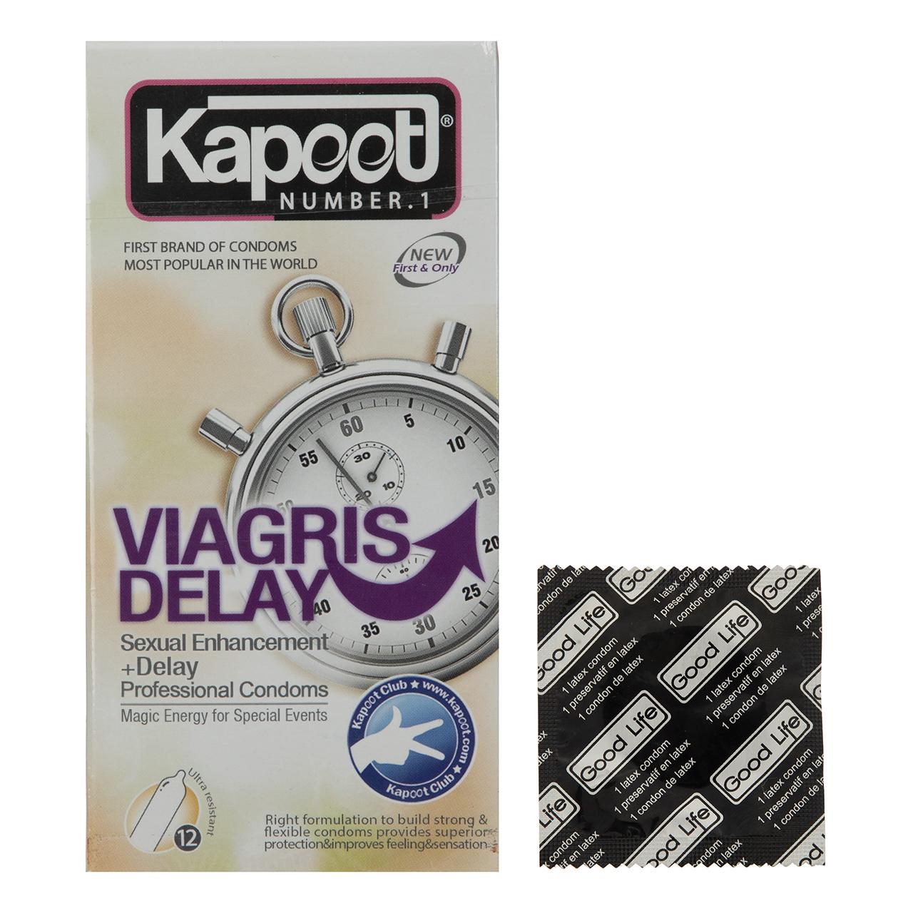 کاندوم تاخیری کاپوت مدل Viagris بسته 12 عددی به همراه یک عدد کاندوم Good Life