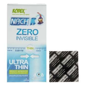 کاندوم کدکس مدل Zero Invisible  بسته 12 عددی به همراه یک عدد کاندوم Good Life