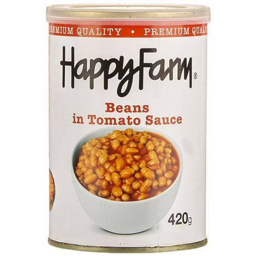کنسرو لوبیا چیتی در سس گوجه فرنگی هپی فارم مقدار 400 گرم