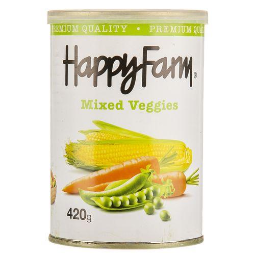کنسرو مخلوط سبزیجات هپی فارم مقدار 420 گرم