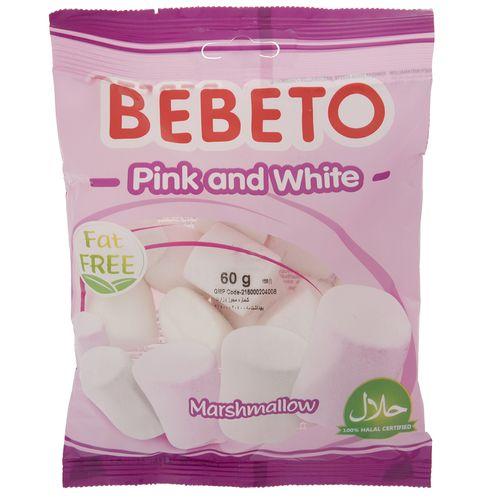 مارشمالو ببتو مدل Pink And White مقدار 60گرم