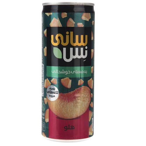 نوشیدنی بدون گاز هلو همراه با تکه های میوه سانی نس حجم 240 میلی لیتر