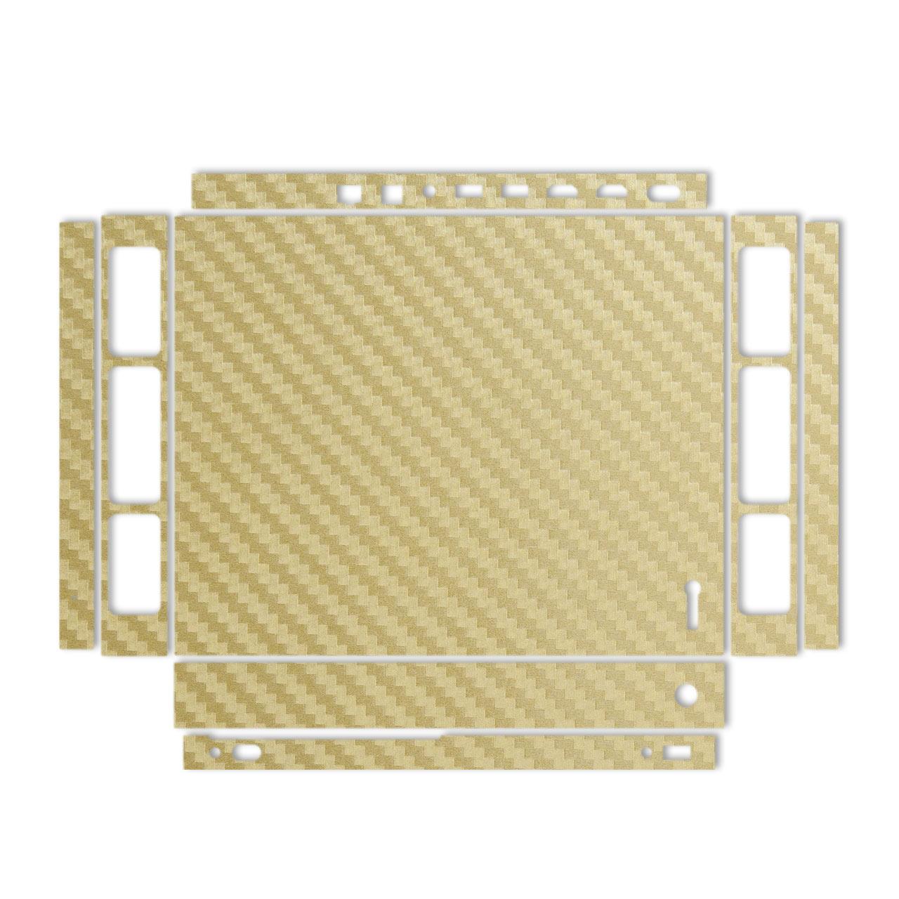 برچسب پوششی مدل Gold Carbon-fiber Texture مناسب برای کنسول بازی Xbox One X