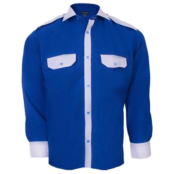 پیراهن مردانه نگهبانی و اداری سبلان مدل آبی سفید