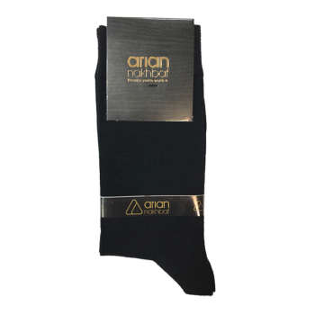 جوراب مردانه مشکی آریان نخ باف کد 51217 پنجه گیری شده