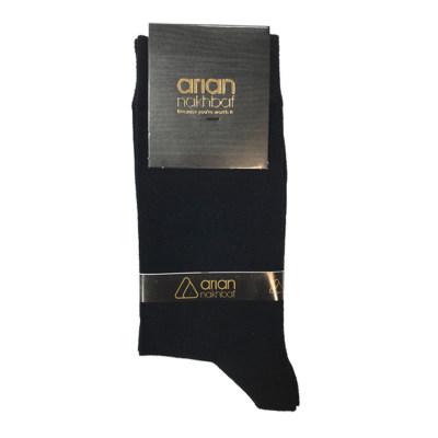 تصویر جوراب مردانه مشکی آریان نخ باف کد 51217 پنجه گیری شده