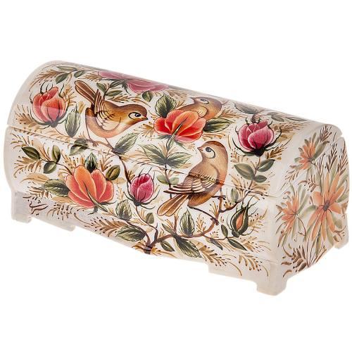 جعبه استخوانی اثر بهشتی طرح گل و مرغ سایز بزرگ