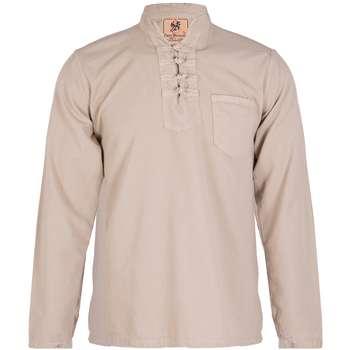 پیراهن مردانه الیاف طبیعی چترفیروزه مدل چهارگره کرم کد 3