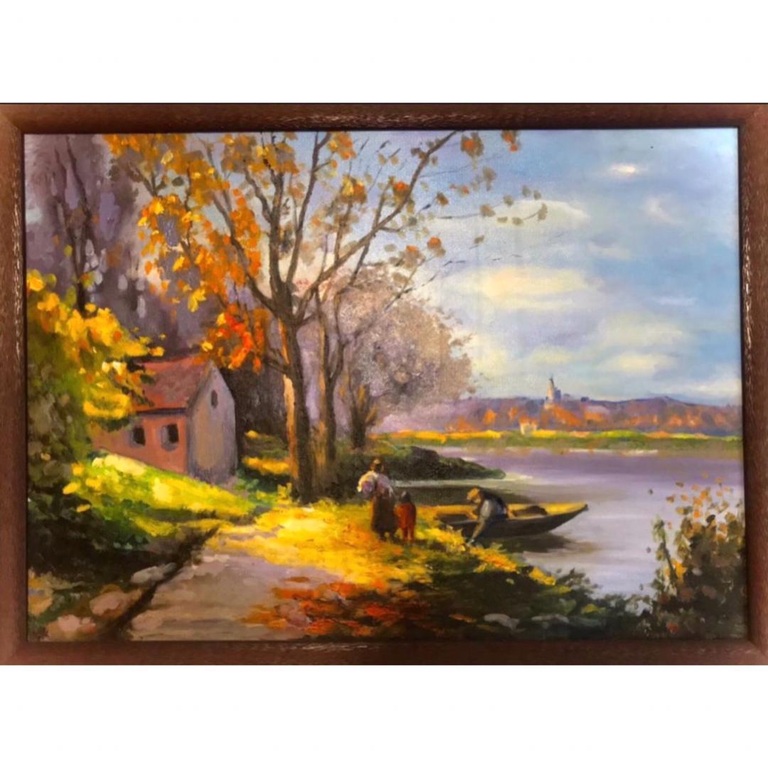 تابلو نقاشی رنگ روغن مدل بعد از ظهر کنار رودخانه