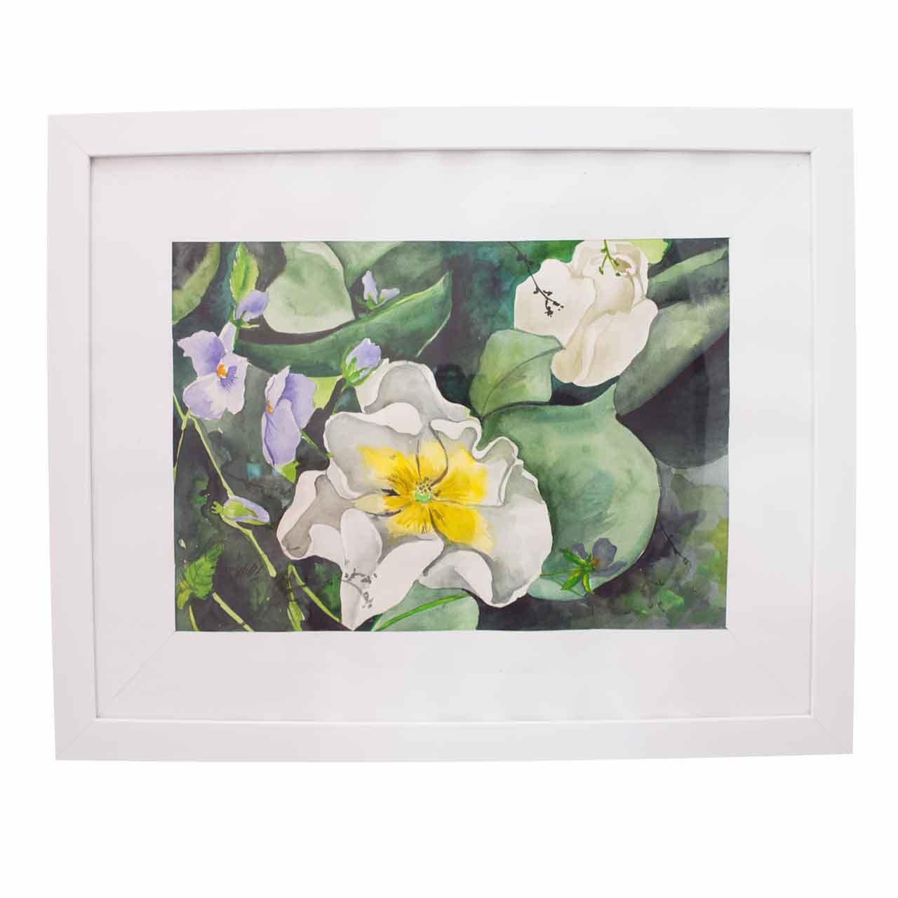 تابلو آبرنگ طرح گل لاله سفيد کد A-F 3050