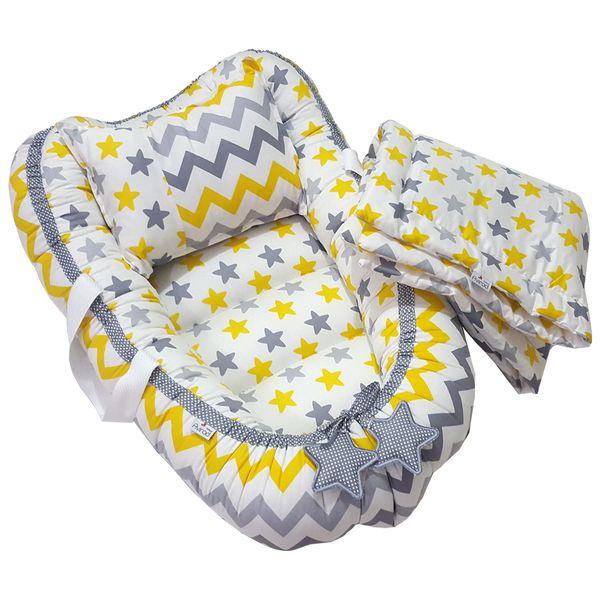 سرویس سه تکه خواب نوزادی آویراد طرح ستاره و زیگزاگ زرد و طوسی Aszyellow001