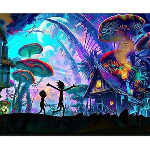 تابلو بوم نقاشی بلک لایت طرح شهر قارچ ها سایز 50 × 70 سانتی متر