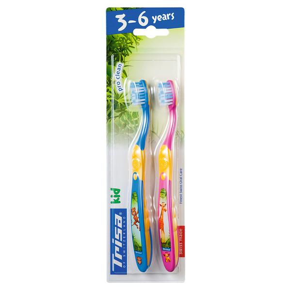 مسواک کودک تریزا مدل Pro Clean برای کودکان 3 تا 6 سال بسته 2 عددی