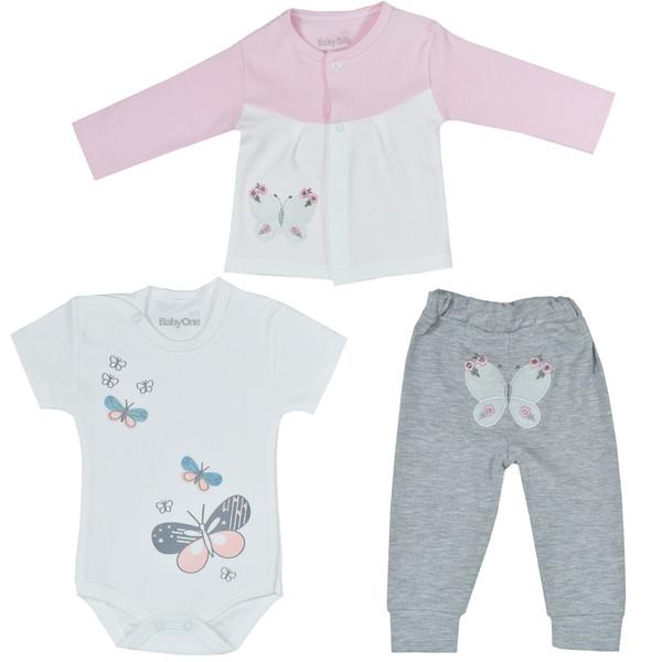 ست 3 تکه لباس نوزادی بی بی وان مدل پروانه صورتی