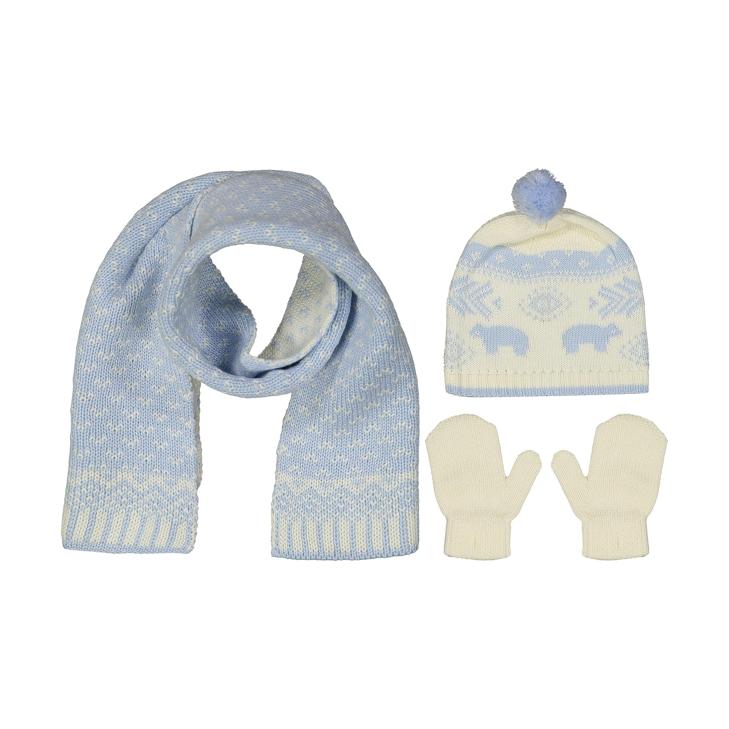 ست کلاه و شال گردن و دستکش بافتنی نوزادی پسرانه فیورلا کد 3703