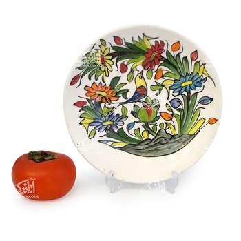 بشقاب سفالی آرانیک مدل گرد نقاشی زیر لعابیطرح گل و مرغ کد1000200041 رنگ سفید