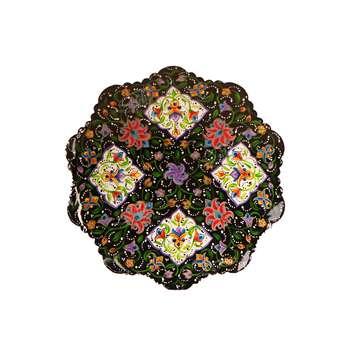 بشقاب مس و پرداز آرانیک گرد  رنگ مشکی طرح شاه عباسی مدل 1000100004