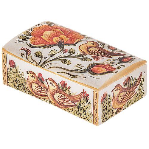جعبه استخوانی اثر بهشتی مدل کبریتی طرح گل و مرغ 2