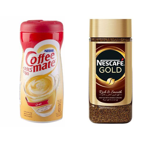 قهوه فوری نسکافه مدل GOLD مقدار 100 گرمی به همراه کافی میت نستله 400 گرمی