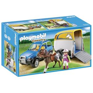 ساختنی پلی موبیل مدل Suv With Horse Trailer 5223