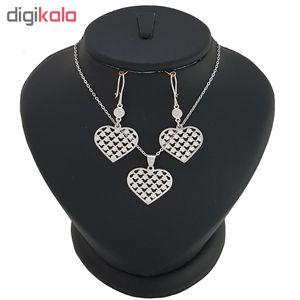 نیم ست نقره طرح لیزری قلب شطرنجی کد DAS23