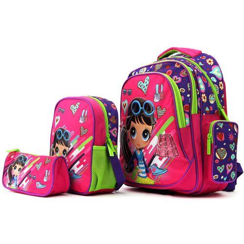 کوله پشتی دخترانه مدل k810 به همراه کیف نگهدارنده غذا و جامدادی