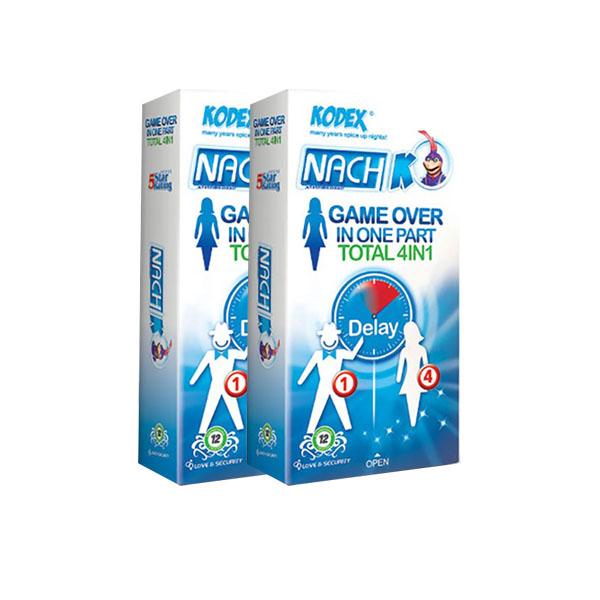 کاندوم کدکس تحریک کننده بانوان مدل Game Over In One Part Total 4in1 دو بسته 12 عددی