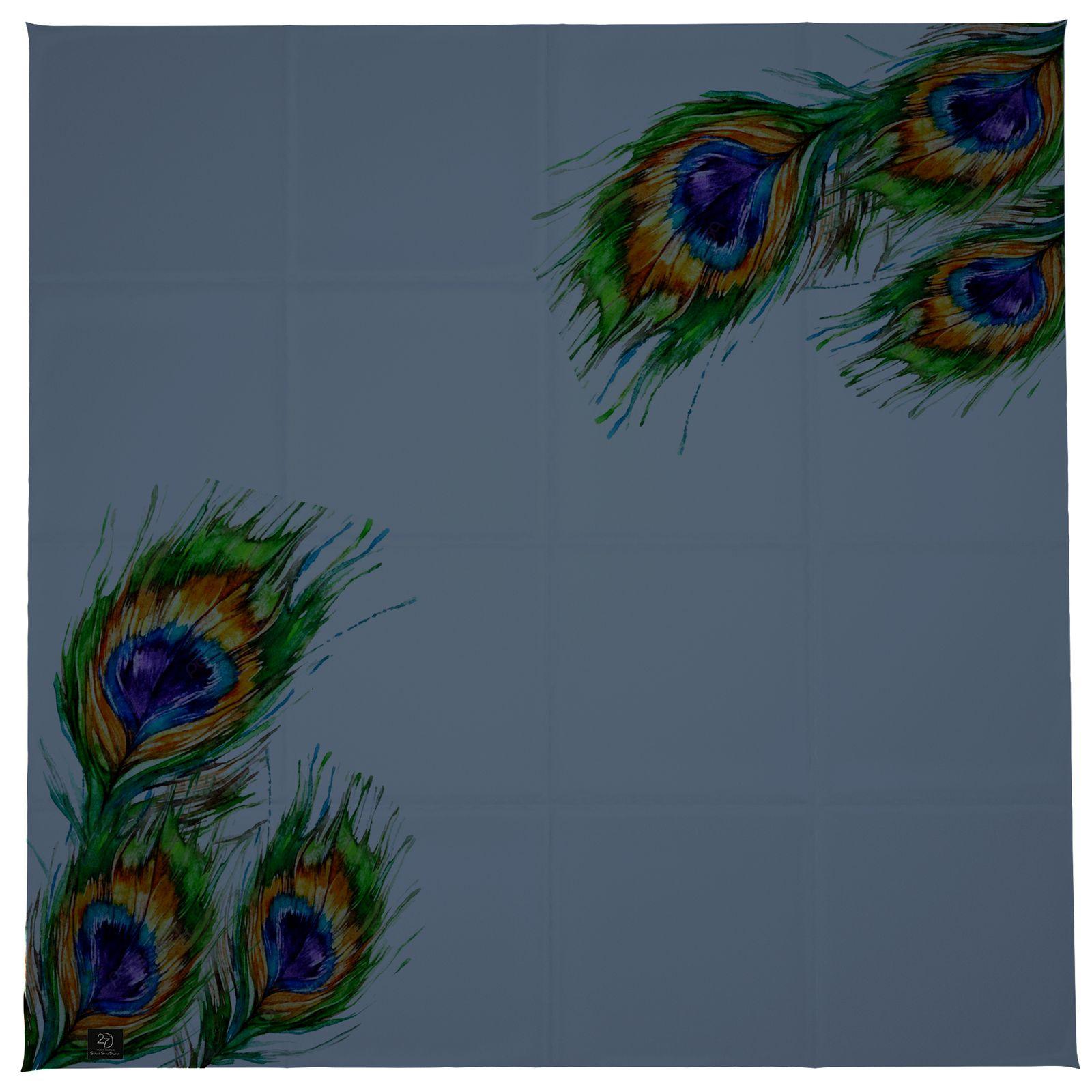 روسری زنانه 27 طرح پر طاووس کد H01 -  - 4