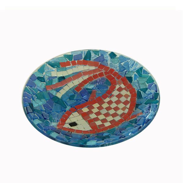 بشقاب همجوشی شیشه آرانیک گرد رنگ آبی طرح ماهی مدل 1000300001