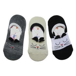 جوراب بچگانه آرشیدا طرح گربه مدل pad4 مجموعه 3 عددی