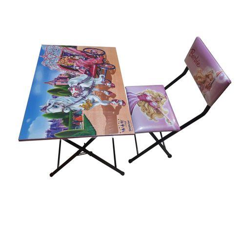 میز تحریر و صندلی تاشو و تنظیم شو شهریار طرح باربی