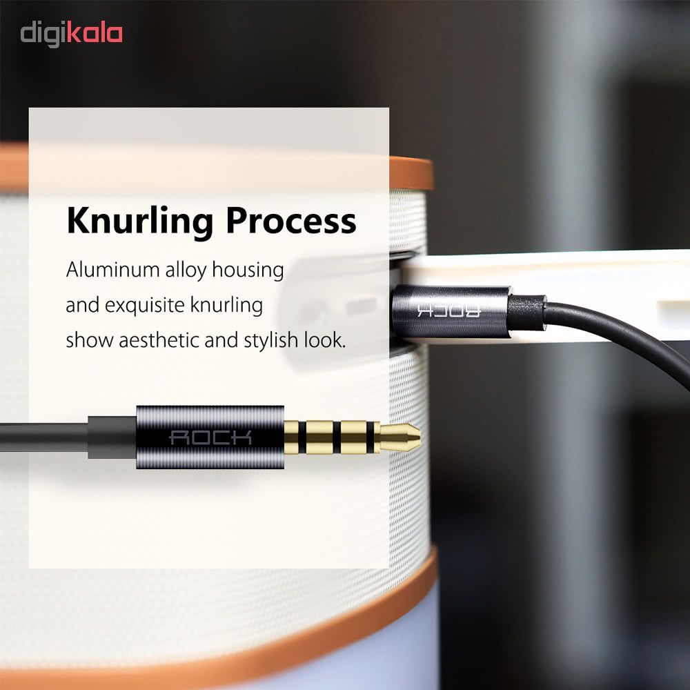 کابل انتقال صدا AUX راک مدل RAU0513 به طول 0.8 متر مشکی