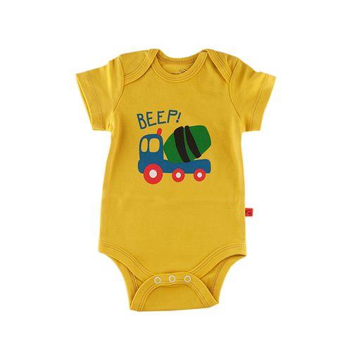 زیر دکمه دار آستین کوتاه نوزادی شابن طرح تراک