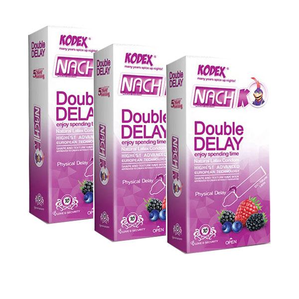 قیمت کاندوم تاخیری دوبل ناچ کدکس مدل Double Delay سه بسته 10 عددی