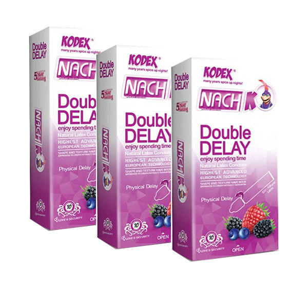 کاندوم تاخیری دوبل ناچ کدکس مدل Double Delay سه بسته 10 عددی