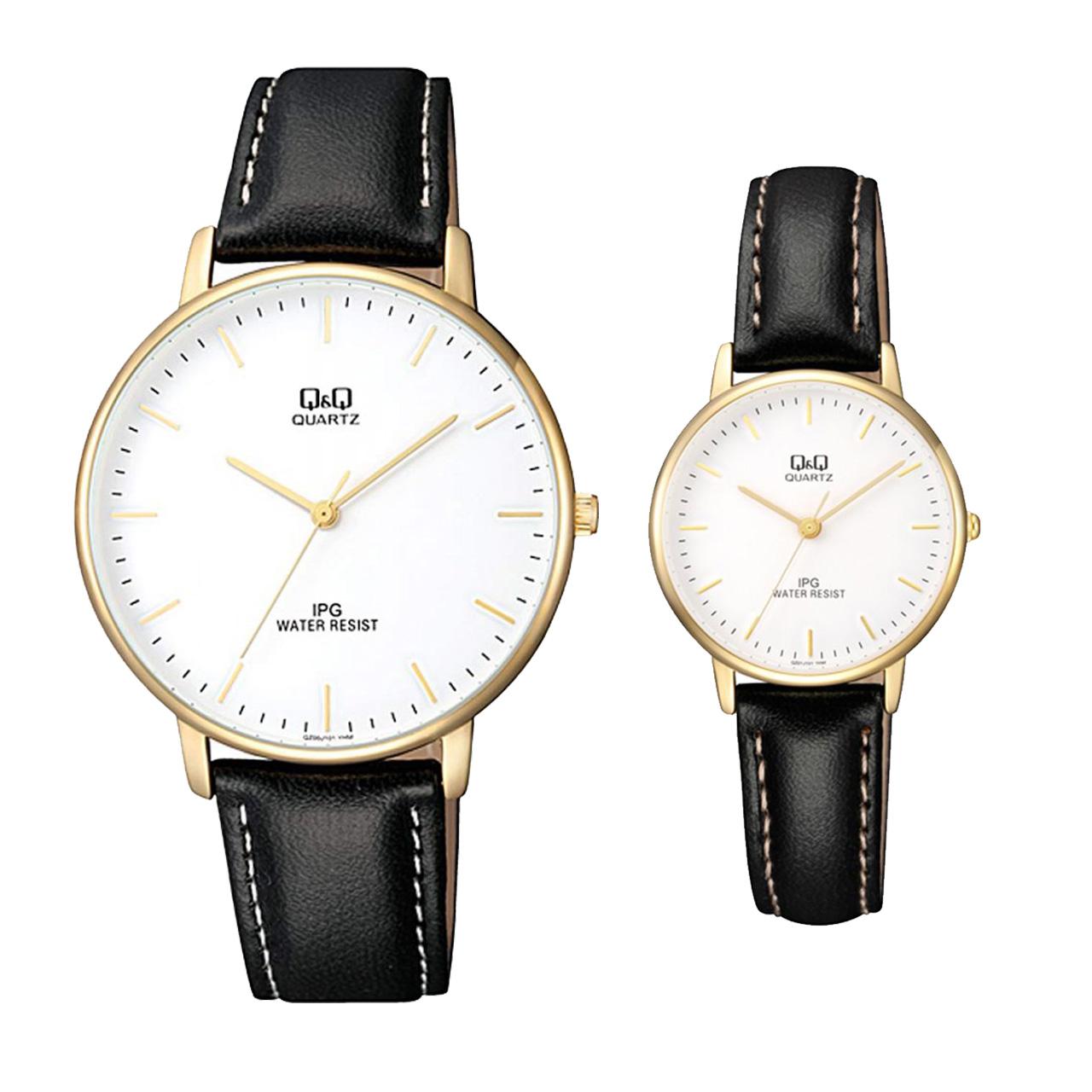 ساعت ست مردانه و زنانه کیو اند کیو مدل QZ00J101Y به همراه دستمال مخصوص برند کلین واچ