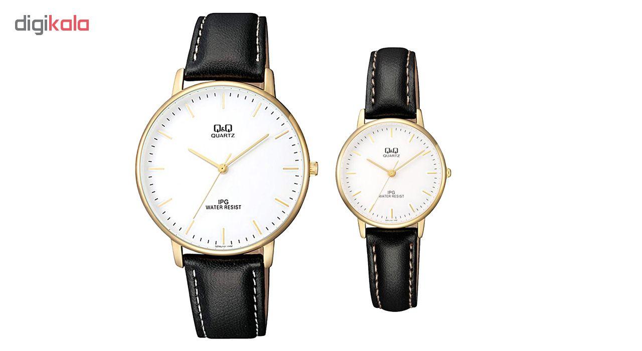 ساعت ست مردانه و زنانه کیو اند کیو مدل QZ00J101Y به همراه دستمال مخصوص برند کلین واچ              اصل
