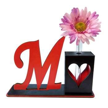 تندیس و گلدان چوبی مهدی یار مدل حرف M