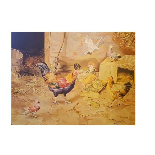 تابلو نقاشی طرح مرغ و خروس  