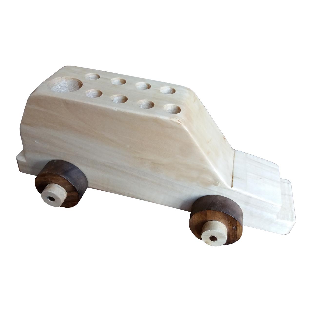جامدادی رومیزی چوبیکا مدل ماشین چوبی